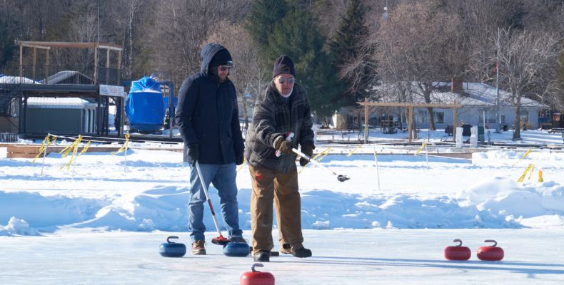 Curling on Big Rideau Lake at the 2019 Portland Skate the Lake